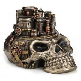 Steampunk czaszka - pojemnik na długopisy