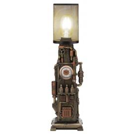 Steampunk lampa z zegarkiem