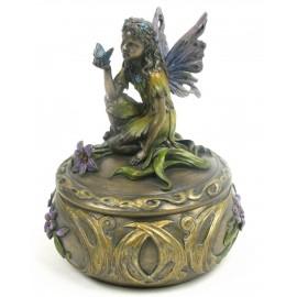 Secesyjne pudełko z aniołkiem i motylem
