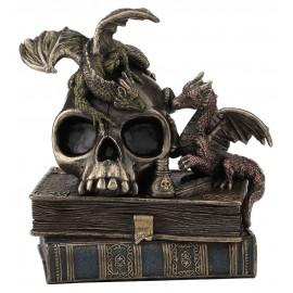 Małe smoki na czaszce i książkach