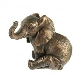 Słonik w brązie siedzący 2