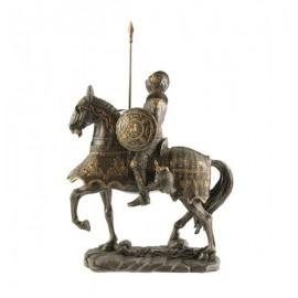 Rycerz na koniu z tarczą