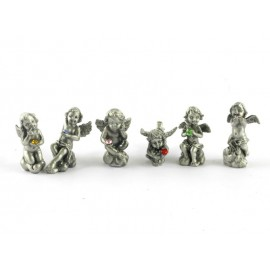Pewter angels with crystals - 6 pcs/box