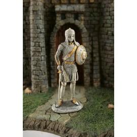 Metalowy rycerz z mieczem i tarczą