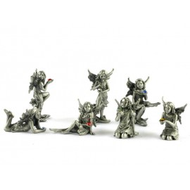 Pewter elves with crystal - 8pcs/pack