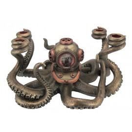 Ośmiornica - świecznik Steampunk