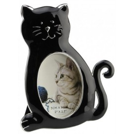 Picture frame with cat - black